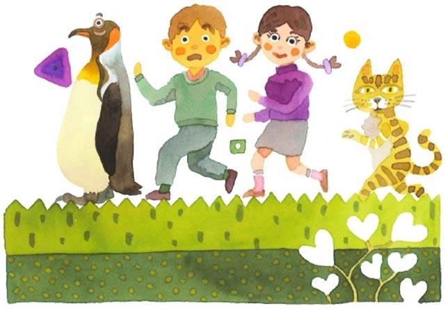 動物と子供 イラスト
