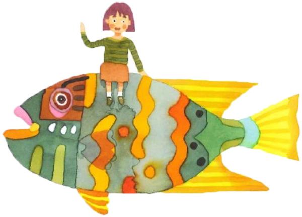 魚・女の子イラスト